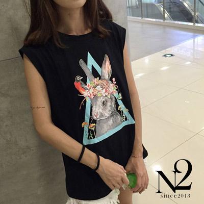 上衣 小清新兔子印花無袖背心T恤(黑) N2