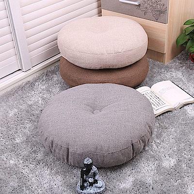 日式無印風 亞麻布圓形坐墊/榻榻米坐墊