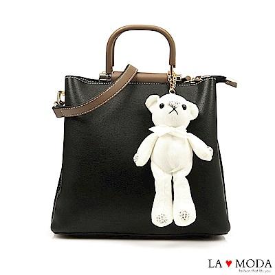 La Moda 注目度極高~小熊水鑽公仔娃娃配飾大容量肩背手提方包(黑)