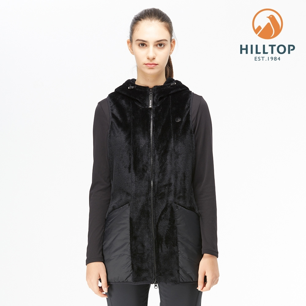 【hilltop山頂鳥】女款長版鋪棉連帽刷毛背心H25F89黑美人