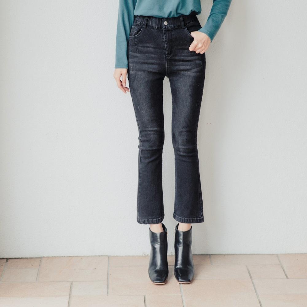 韓系纖腿小喇叭高彈牛仔褲-OB大尺碼