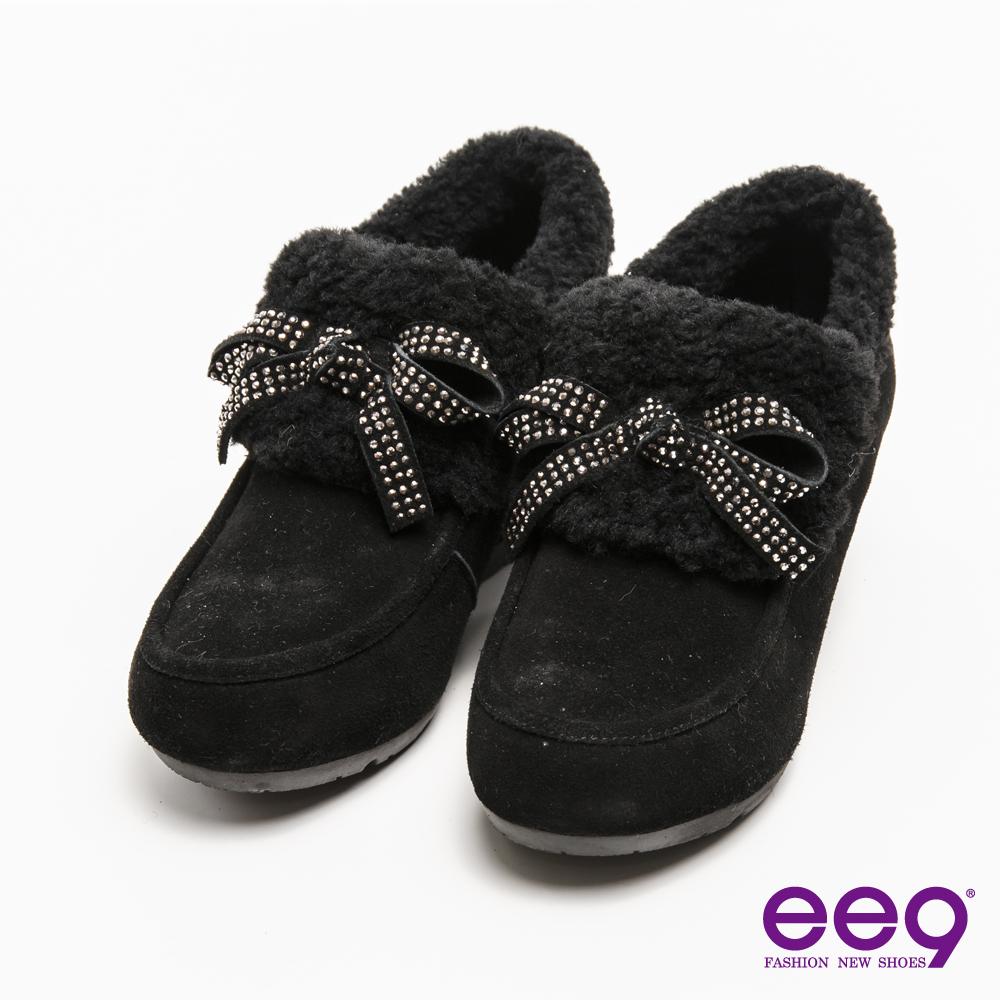 ee9迷人丰采~閃耀珠鑽蝴蝶結素面柔軟兔毛平底踝靴*黑色