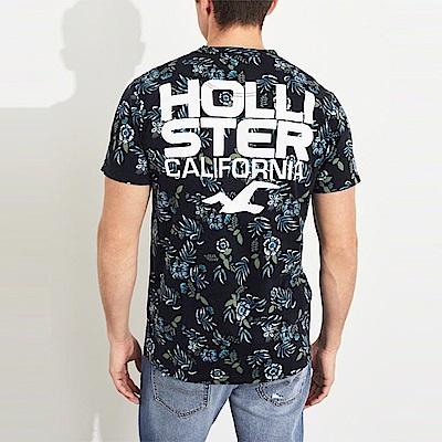HCO Hollister 海鷗 經典印刷文字大海鷗圖案短袖T恤-深藍色