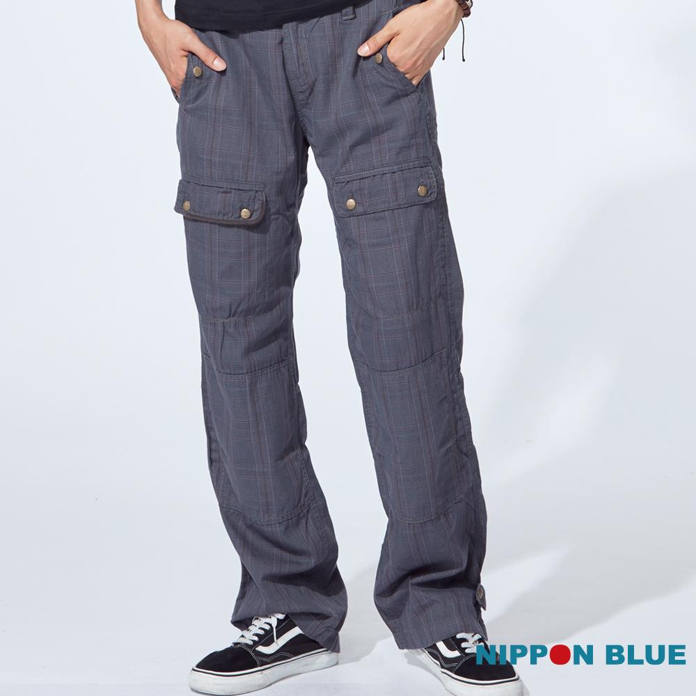 日本藍 BLUE WAY骷髏格子工作褲