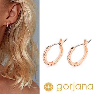 GORJANA Shimmer Huggies 迷你小圓耳環 C型鑲鑽耳環 玫瑰金
