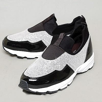【AIRKOREA韓國空運】正韓低調奢華拼接閃亮增高鞋-銀