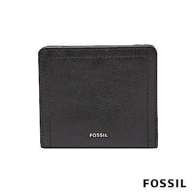 FOSSIL LOGAN 真皮系列拉鍊零錢袋設計短夾-黑色