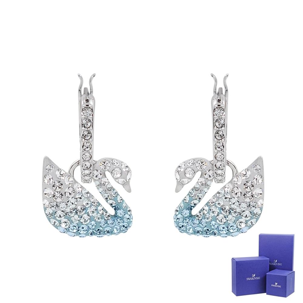 SWAROVSKI 施華洛世奇 璀璨漸層水晶天鵝造型銀色耳環