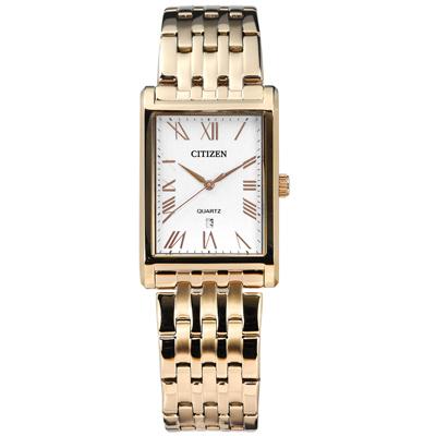 CITIZEN 星辰表 羅馬時標礦石強化玻璃日本機芯不鏽鋼手錶-白x鍍香檳金/25mm