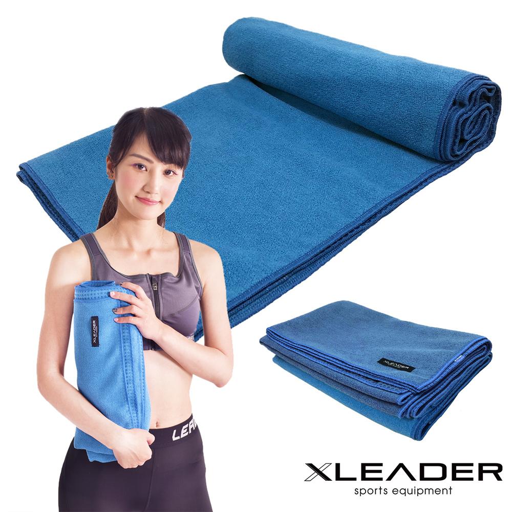 Leader X 超細纖維吸汗止滑瑜珈鋪巾 藍色