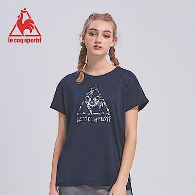 le coq sportif 法國公雞牌馬賽克LOGO吸汗速乾短袖T恤 女-丈青