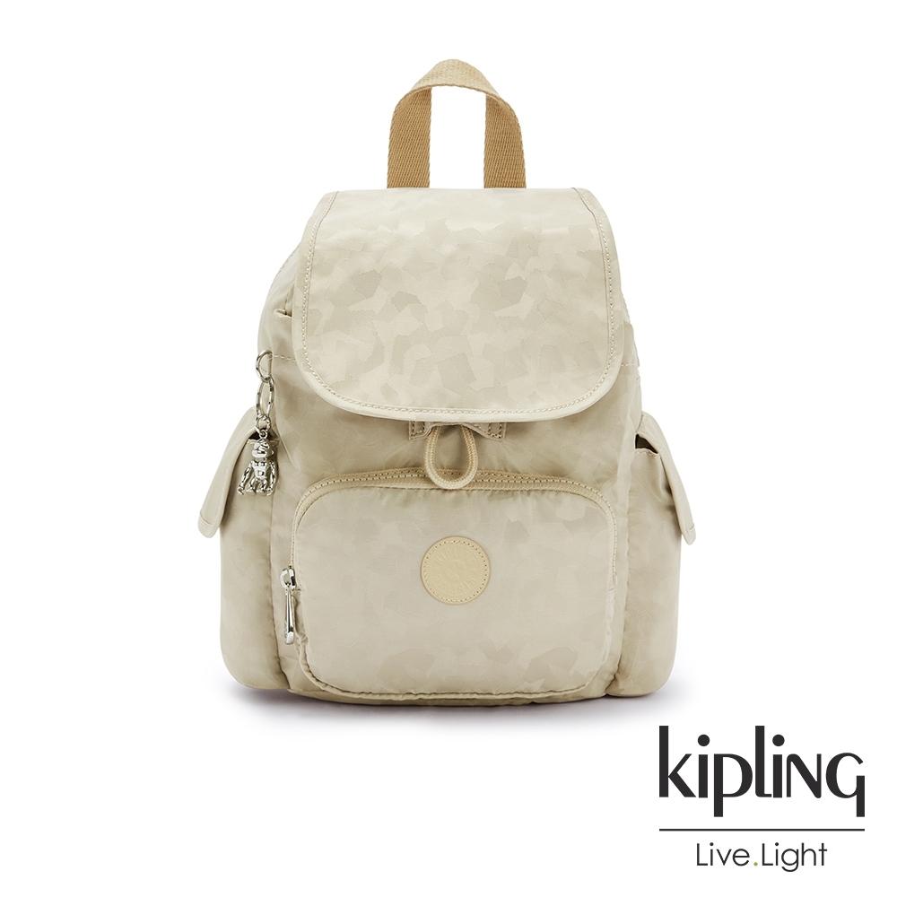 Kipling 奶油鬆餅色拉鍊掀蓋後背包-CITY PACK MINI