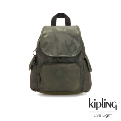Kipling 迷彩緞灰拉鍊掀蓋後背包-CITY PACK MINI