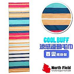 美國 North Field COOL BUFF 降溫速乾吸濕排汗涼感運動毛巾_簡約條紋