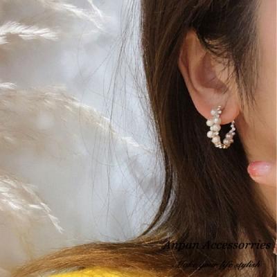 【3件51折】ANPAN愛扮韓東大門簡約C型珍珠鑽石925銀針耳針式耳環