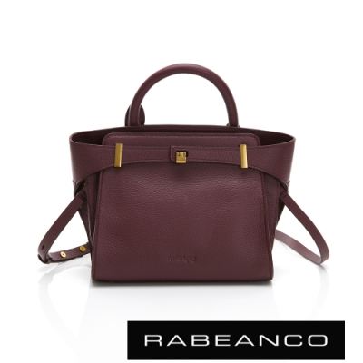 RABEANCO MIRENA 氣質粒面牛皮小型手提/斜背包 紫紅