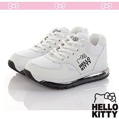 HelloKitty童鞋 極簡風旗艦款透氣抗菌防臭吸震氣墊運動鞋-白