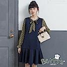betty's貝蒂思 氣質綁結雪紡拚接魚尾洋裝(藍色)