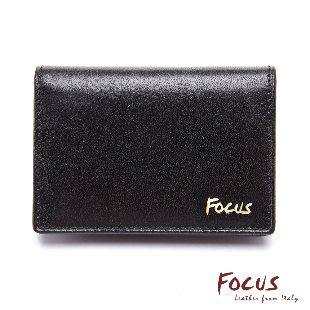 FOCUS原皮時尚黑商務名片夾(FGB1127)