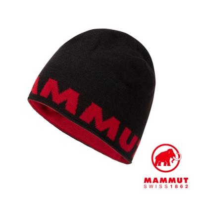 【Mammut 長毛象】Mammut Logo Beanie 正反兩用LOGO保暖羊毛帽 黑色 #1191-04891