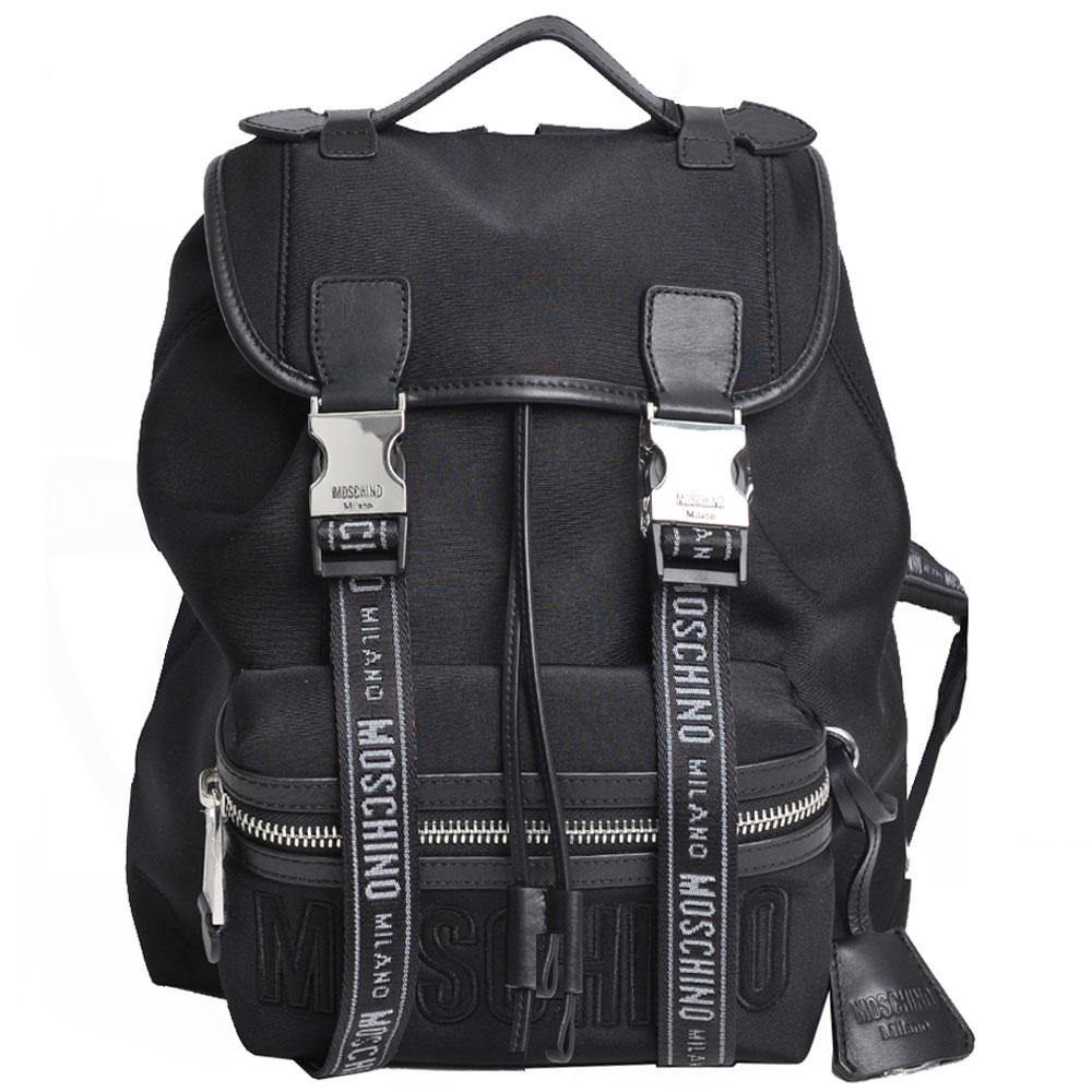 MOSCHINO 品牌黑色字母LOGO尼龍雙釦式後背包(黑)