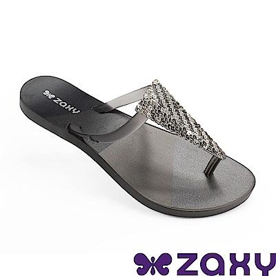 Zaxy 巴西 女 清新璀璨夾腳拖鞋-黑色
