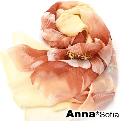 AnnaSofia 清麗花蕾 雪紡圍巾長絲巾(米黃底系)