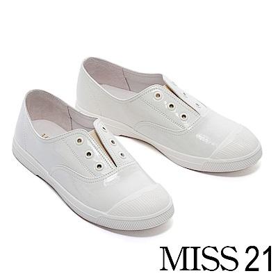 休閒鞋 MISS 21 簡約率性潮流無鞋帶造型全真皮休閒鞋-白