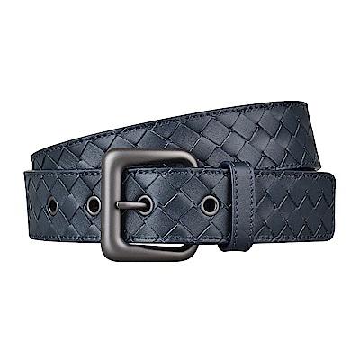 BV BOTTEGA VENETA經典編織寬扣設計小牛皮扣式皮帶(午夜藍)