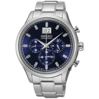 SEIKO精工   紳士指標三眼石英腕錶(SPC081P1)-藍面x42.5mm