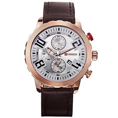 CURREN  卡瑞恩8193-冒險家運動仿三眼日曆手錶 (3色任選)