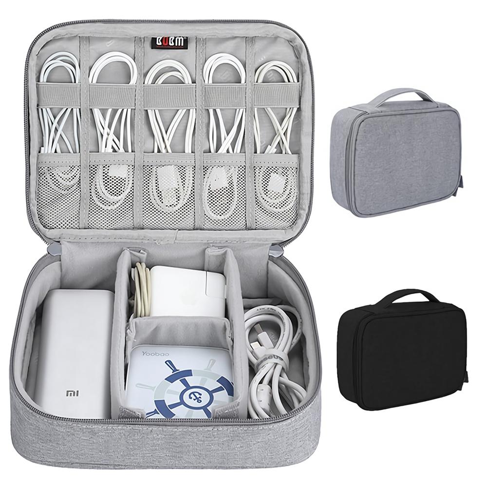BUBM單層加高版 多功能3C收納包 大容量配件包 行動電源滑鼠變壓器耳機充電線 出國旅行旅遊