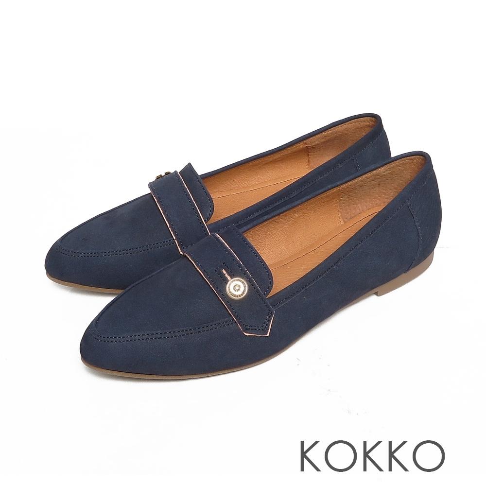 KOKKO超彈力尖頭牛麂皮鈕扣寬版平底鞋經典藍色