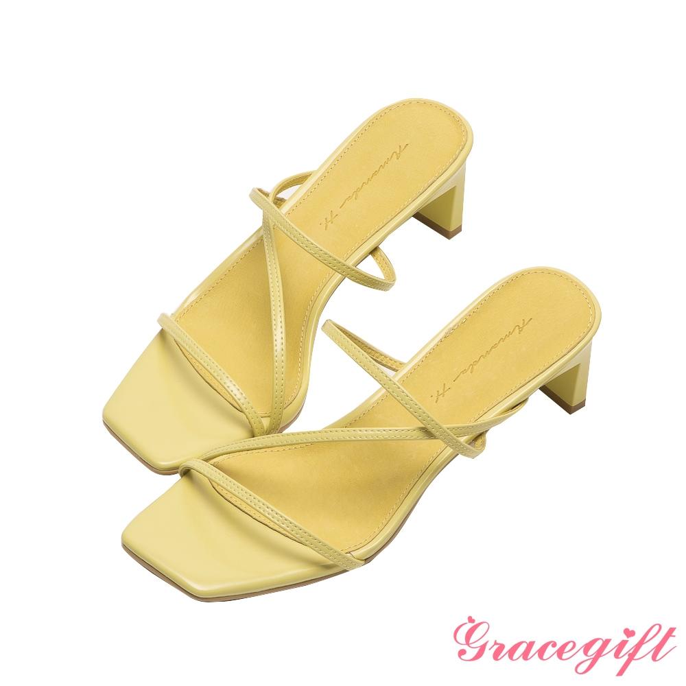 Grace gift X Amanda聯名-全真皮細帶窄跟涼拖鞋 黃