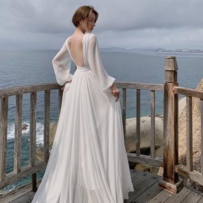 氣質白色女神露背輕婚紗禮服洋裝S-XL-Sexy Devil