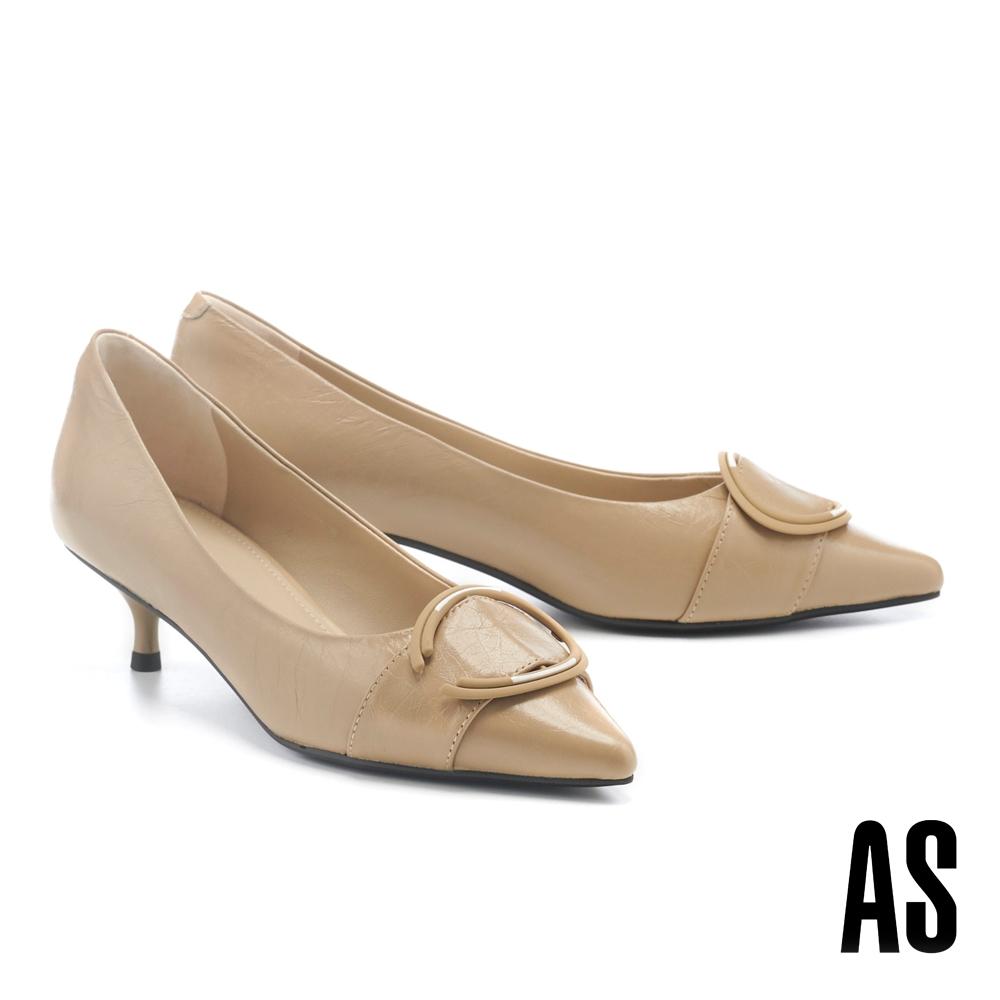 高跟鞋 AS 新氣質時尚大圓釦牛皮尖頭高跟鞋-米
