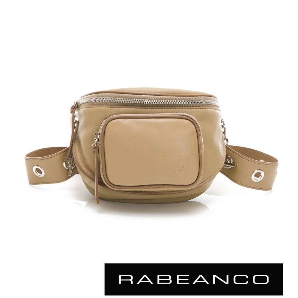 RABEANCO INA牛皮T型鏈條寬背帶斜背/腰包(小) 淺卡其