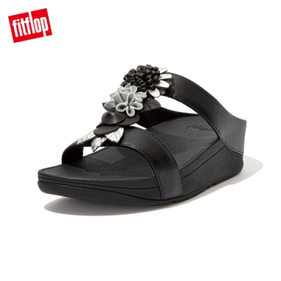 FitFlop FINO FLORAL CLUSTER SLIDES 立體花飾涼鞋-女(靚黑色)