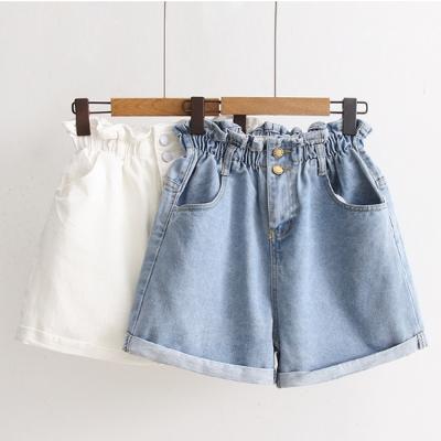 SUPER COLOR 日系新款簡約百搭高腰牛仔短褲(淺藍)