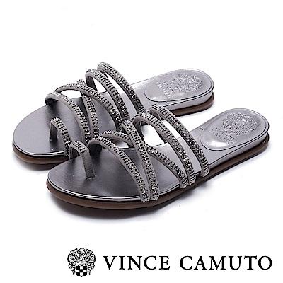 VINCE CAMUTO 交叉帶水鑽平底涼鞋-絨灰