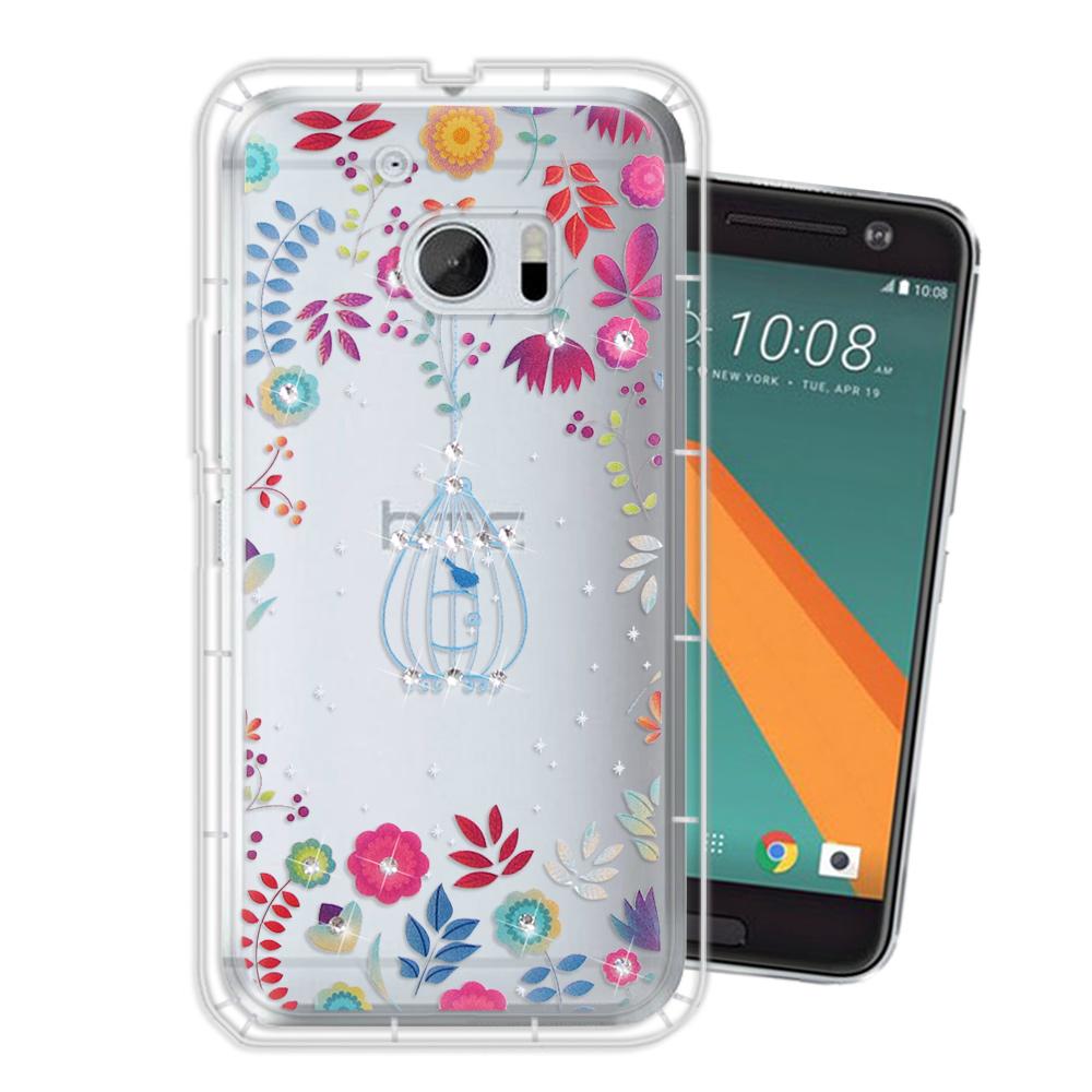 HTC 10 / M10 奧地利水晶彩繪空壓手機殼(鳥羽花萃)