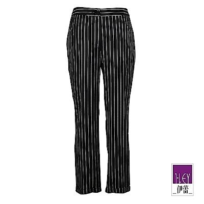 ILEY伊蕾 都會感造型涼感條紋小直筒褲(黑)