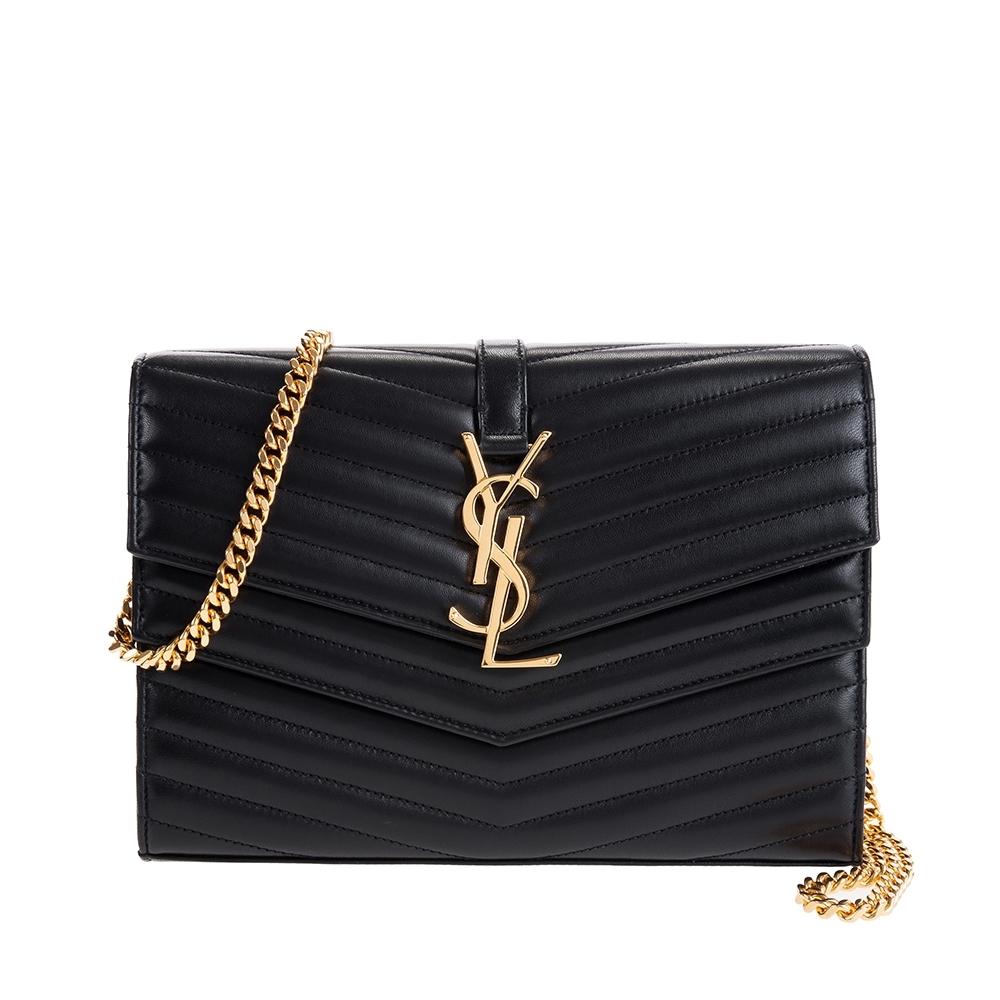 YSL MATELASSE系列V型縫線綿羊皮金屬LOGO雙蓋金鍊肩背/斜背包 (黑色)