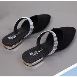KEITH-WILL時尚鞋館 女人話題閃亮尖頭穆勒鞋 黑