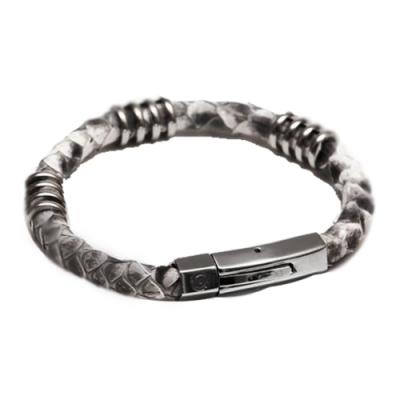 ZENGER北美蟒蛇手工皮環-灰白