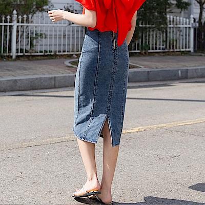 後拉鍊開衩設計高含棉仿牛仔中長包裙-OB大尺碼