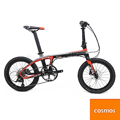 COSMOS FD-Z1碳纖維車架20吋9速碟煞折疊單車/碳纖小折-鈦黑紅