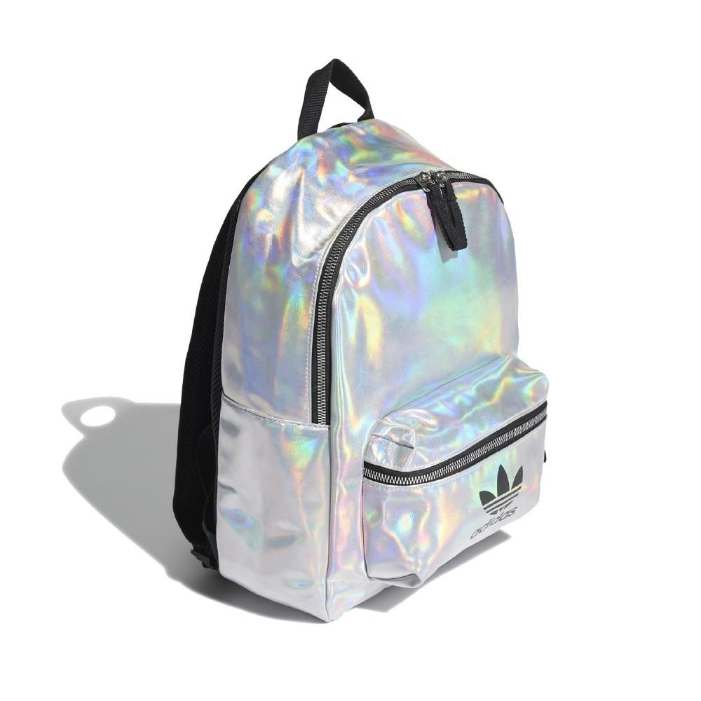 adidas 後背包 Metallic Backpack 男女款 愛迪達 三葉草 金屬 太空 鐳射 銀 黑 FL9631