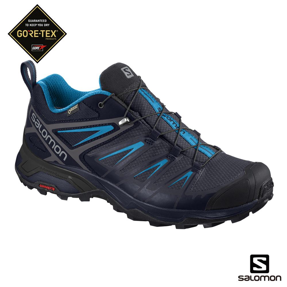 Salomon 低筒登山鞋 GORETEX防水 男 X ULTRA 3 黑藍