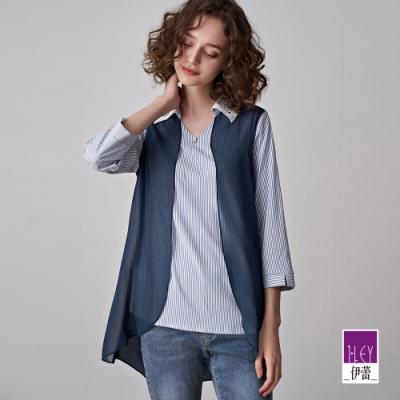 ILEY伊蕾 條紋活片雪紡拼接襯衫(藍)